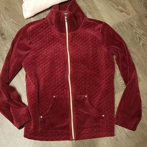Quilted Velour Onque Casual Zipperd Jacke w/ bling